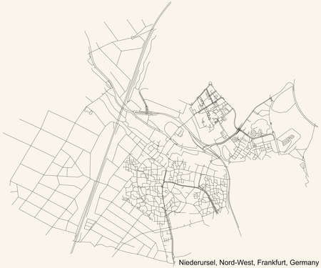 Black simple detailed street roads map on vintage beige background of the neighbourhood Niederursel city district of the Nord-West urban district (ortsbezirk) of Frankfurt am Main, Germany