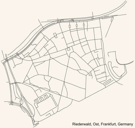 Black simple detailed street roads map on vintage beige background of the neighbourhood Riederwald city district of the Ost urban district (ortsbezirk) of Frankfurt am Main, Germany