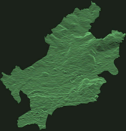 Topographic military radar tactical map of Frankfurt am Main, Germany with emerald green contour lines on dark green background