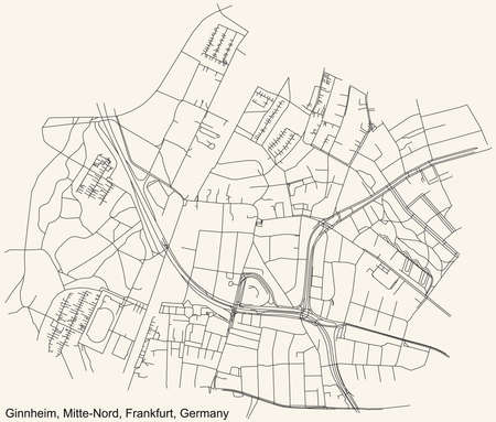 Black simple detailed street roads map on vintage beige background of the neighbourhood Ginnheim city district of the Mitte-Nord urban district (ortsbezirk) of Frankfurt am Main, Germany Vetores