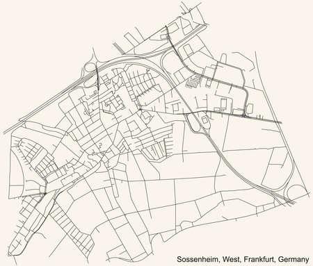 Black simple detailed street roads map on vintage beige background of the neighbourhood Sossenheim city district of the West urban district (ortsbezirk) of Frankfurt am Main, Germany 矢量图像