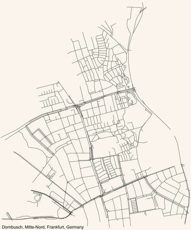 Black simple detailed street roads map on vintage beige background of the neighbourhood Dornbusch city district of the Mitte-Nord urban district (ortsbezirk) of Frankfurt am Main, Germany