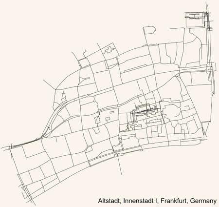 Black simple detailed street roads map on vintage beige background of the neighbourhood Altstadt city district of the Innenstadt I urban district (ortsbezirk) of Frankfurt am Main, Germany 矢量图像