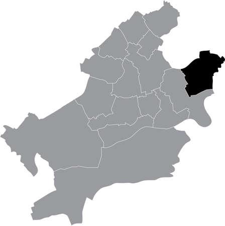 Black location map of the Frankfurter Bergen-Enkheim district (ortsbezirk) inside the German regional capital city of Frankfurt am Main, Germany