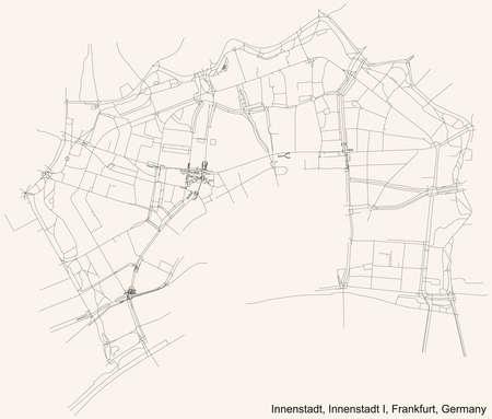 Black simple detailed street roads map on vintage beige background of the neighbourhood Innenstadt city district of the Innenstadt I urban district (ortsbezirk) of Frankfurt am Main, Germany 矢量图像