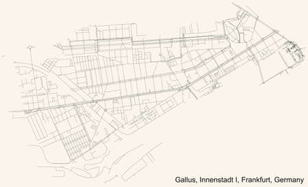 Black simple detailed street roads map on vintage beige background of the neighbourhood Gallus city district of the Innenstadt I urban district (ortsbezirk) of Frankfurt am Main, Germany