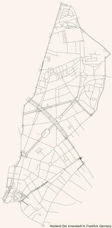 Black simple detailed street roads map on vintage beige background of the neighbourhood Nordend-Ost city district of the Innenstadt III urban district (ortsbezirk) of Frankfurt am Main, Germany 矢量图像