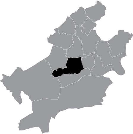 Black location map of the Frankfurter Innenstadt II district (ortsbezirk) inside the German regional capital city of Frankfurt am Main, Germany