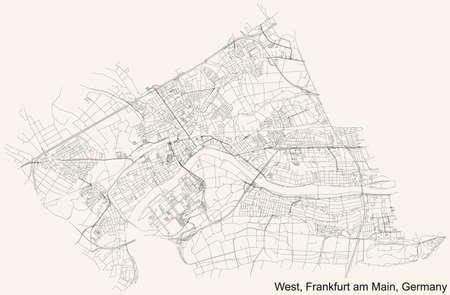 Black simple detailed street roads map on vintage beige background of the neighbourhood West district (ortsbezirk) of Frankfurt am Main, Germany