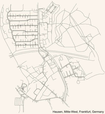 Black simple detailed street roads map on vintage beige background of the neighbourhood Hausen city district of the Mitte-West urban district (ortsbezirk) of Frankfurt am Main, Germany