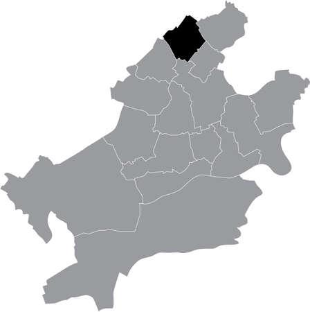 Black location map of the Frankfurter Nieder-Eschbach district (ortsbezirk) inside the German regional capital city of Frankfurt am Main, Germany 矢量图像