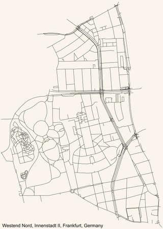 Black simple detailed street roads map on vintage beige background of the neighbourhood Westend-Nord city district of the Innenstadt II urban district (ortsbezirk) of Frankfurt am Main, Germany