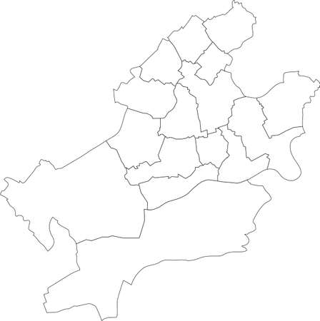 Simple blank white vector map with black borders of districts of Frankfurt am Main, Germany 矢量图像