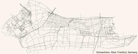 Black simple detailed street roads map on vintage beige background of the neighbourhood Schwanheim city district of the West urban district (ortsbezirk) of Frankfurt am Main, Germany 矢量图像