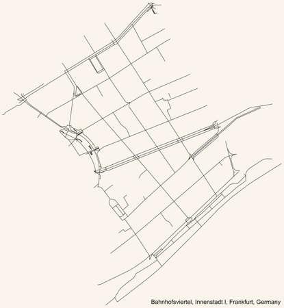 Black simple detailed street roads map on vintage beige background of the neighbourhood Bahnhofsviertel city district of the Innenstadt I urban district (ortsbezirk) of Frankfurt am Main, Germany
