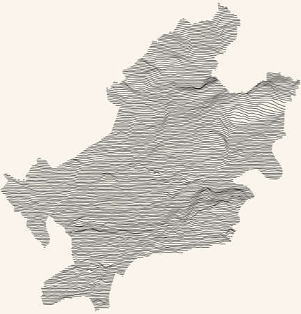Topographic map of Frankfurt am Main, Germany with black contour lines on beige background 矢量图像