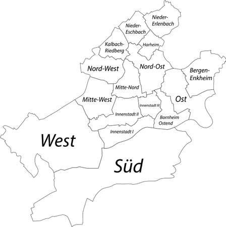 Simple blank white vector map with black borders and names of districts of Frankfurt am Main, Germany Vetores