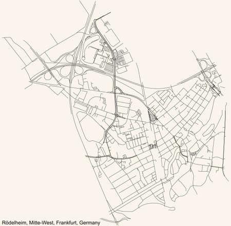 Black simple detailed street roads map on vintage beige background of the neighbourhood Rödelheim city district of the Mitte-West urban district (ortsbezirk) of Frankfurt am Main, Germany