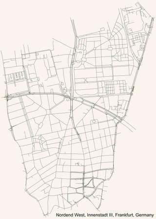 Black simple detailed street roads map on vintage beige background of the neighbourhood Nordend-West city district of the Innenstadt III urban district (ortsbezirk) of Frankfurt am Main, Germany 矢量图像