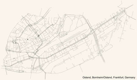 Black simple detailed street roads map on vintage beige background of the neighbourhood Ostend city district of the Bornheim/Ostend urban district (ortsbezirk) of Frankfurt am Main, Germany