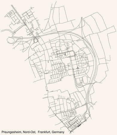 Black simple detailed street roads map on vintage beige background of the neighbourhood Preungesheim city district of the Nord-Ost urban district (ortsbezirk) of Frankfurt am Main, Germany