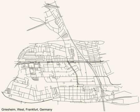 Black simple detailed street roads map on vintage beige background of the neighbourhood Griesheim city district of the West urban district (ortsbezirk) of Frankfurt am Main, Germany 矢量图像