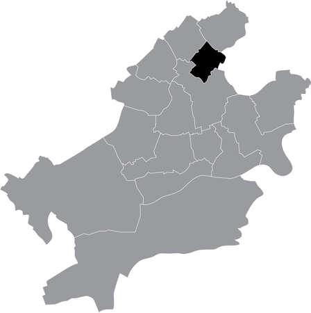 Black location map of the Frankfurter Harheim district (ortsbezirk) inside the German regional capital city of Frankfurt am Main, Germany