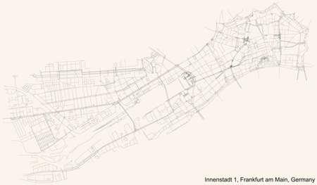 Black simple detailed street roads map on vintage beige background of the neighbourhood Innenstadt I district (ortsbezirk) of Frankfurt am Main, Germany 矢量图像