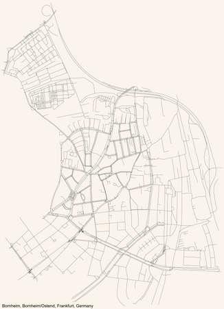 Black simple detailed street roads map on vintage beige background of the neighbourhood Bornheim city district of the Bornheim/Ostend urban district (ortsbezirk) of Frankfurt am Main, Germany 矢量图像