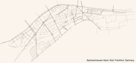 Black simple detailed street roads map on vintage beige background of the neighbourhood Sachsenhausen-Nord city district of the Süd urban district (ortsbezirk) of Frankfurt am Main, Germany