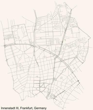 Black simple detailed street roads map on vintage beige background of the neighbourhood Innenstadt III district (ortsbezirk) of Frankfurt am Main, Germany
