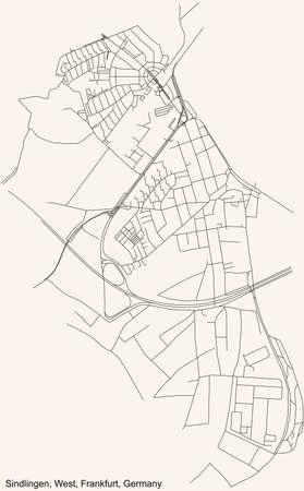 Black simple detailed street roads map on vintage beige background of the neighbourhood Sindlingen city district of the West urban district (ortsbezirk) of Frankfurt am Main, Germany