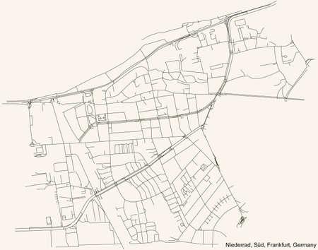 Black simple detailed street roads map on vintage beige background of the neighbourhood Niederrad city district of the Süd urban district (ortsbezirk) of Frankfurt am Main, Germany