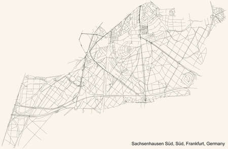 Black simple detailed street roads map on vintage beige background of the neighbourhood Gutleutviertel city district of the Innenstadt I urban district (ortsbezirk) of Frankfurt am Main, Germany