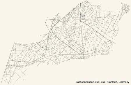 Black simple detailed street roads map on vintage beige background of the neighbourhood Gutleutviertel city district of the Innenstadt I urban district (ortsbezirk) of Frankfurt am Main, Germany Vetores