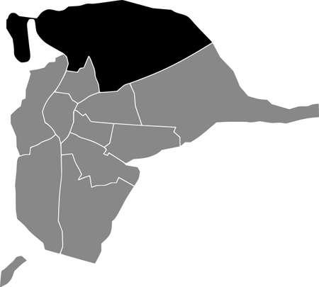 Black location map of the Sevillian Distrito Norte district inside the Spanish regional capital city of Seville, Spain