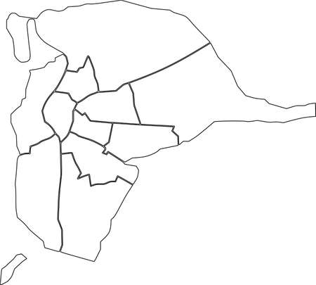 Simple blank white vector map with black borders of districts of Seville, Spain 矢量图像