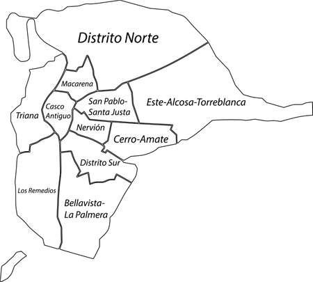 Simple blank white vector map with black borders and names of districts of Seville, Spain