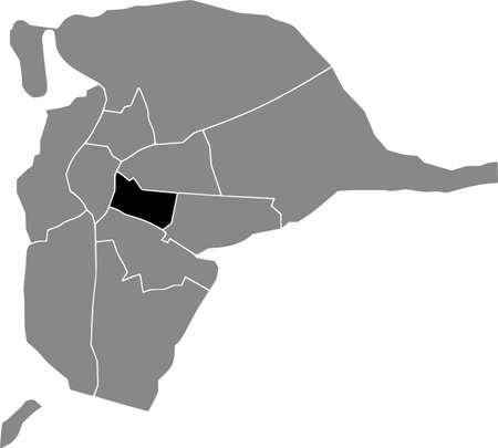 Black location map of the Sevillian Nervión district inside the Spanish regional capital city of Seville, Spain 矢量图像