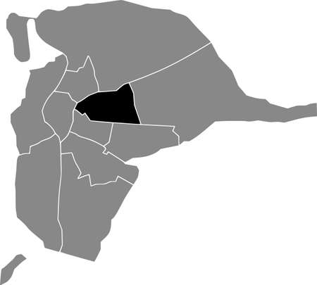 Black location map of the Sevillian San Pablo-Santa Justa district inside the Spanish regional capital city of Seville, Spain 矢量图像