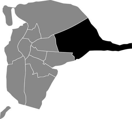 Black location map of the Sevillian Este-Alcosa-Torreblanca district inside the Spanish regional capital city of Seville, Spain