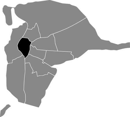 Black location map of the Sevillian Casco Antiguo district inside the Spanish regional capital city of Seville, Spain