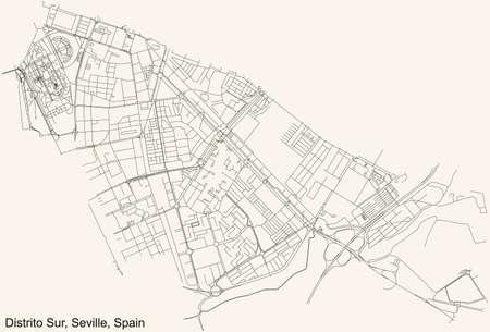 Black simple detailed street roads map on vintage beige background of the quarter Distrito Sur district of Seville, Spain