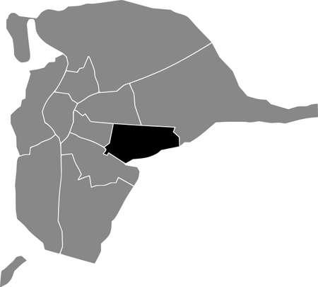 Black location map of the Sevillian Cerro-Amate district inside the Spanish regional capital city of Seville, Spain