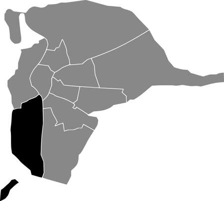 Black location map of the Sevillian Los Remedios district inside the Spanish regional capital city of Seville, Spain