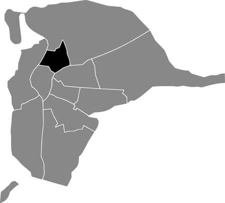 Black location map of the Sevillian Macarena district inside the Spanish regional capital city of Seville, Spain