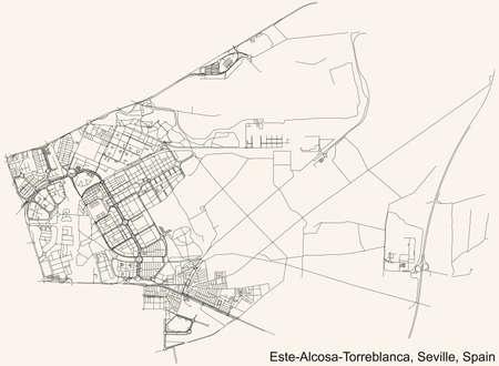 Black simple detailed street roads map on vintage beige background of the quarter Este-Alcosa-Torreblanca district of Seville, Spain