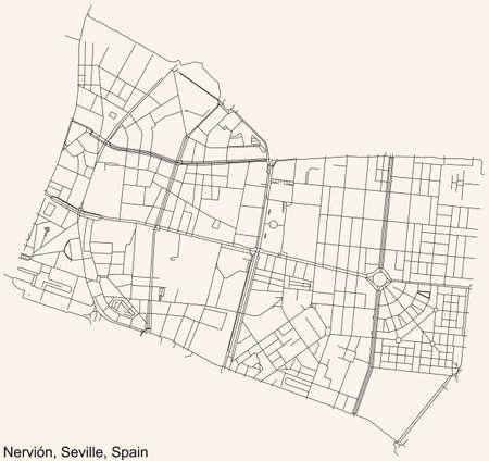 Black simple detailed street roads map on vintage beige background of the quarter Nervión district of Seville, Spain