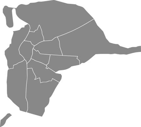 Simple gray vector map with white borders of districts of Seville, Spain