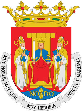 Vector coat of arms illustration of the Spanish regional capital city of Seville, Spain